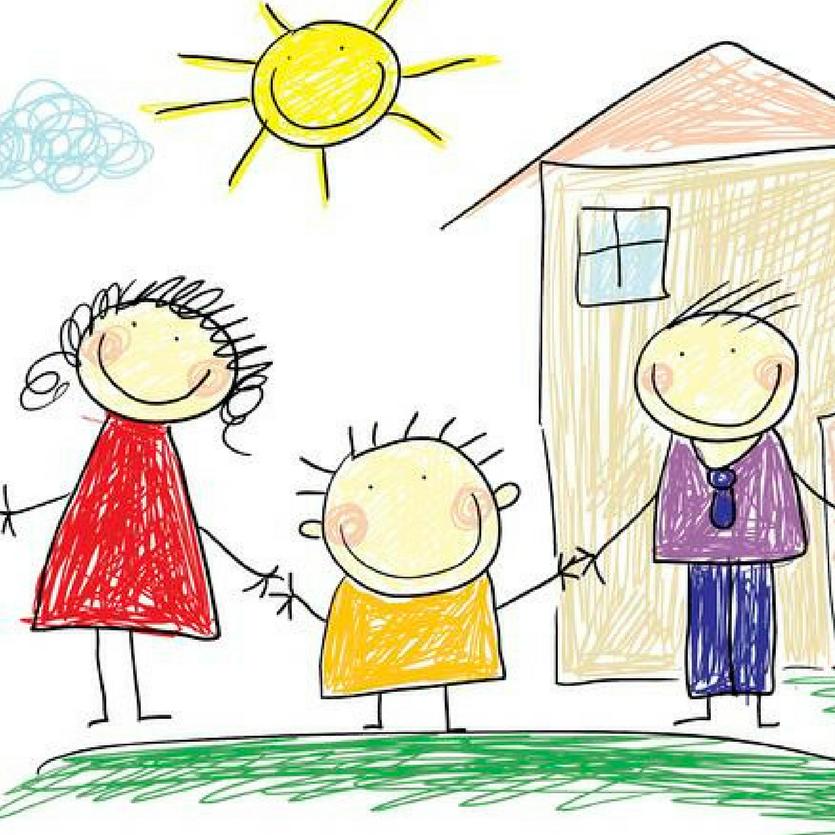 Desenho de uma criança retratando a casa e os pais