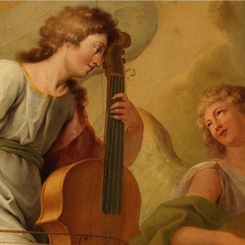 Afresco de anjos cantando