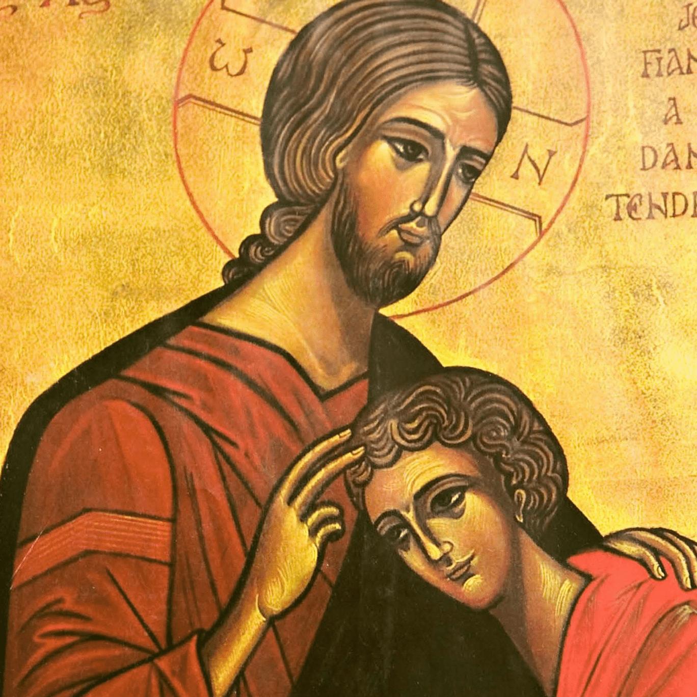 Ícone do Apóstolo São João encostado no peito de Jesus