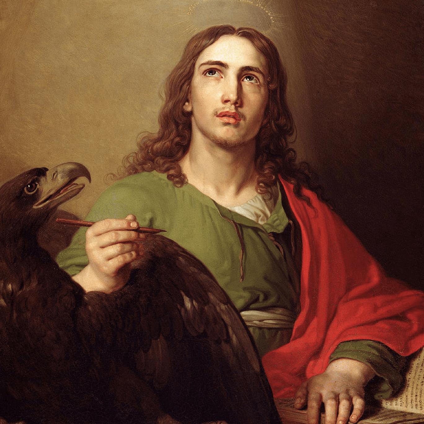 Pintura de São João com a águia