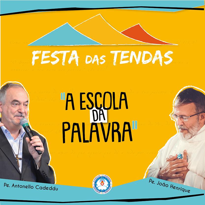 Banner da Festa das Tendas com as fotos de Padre Henrique e Padre Antonello