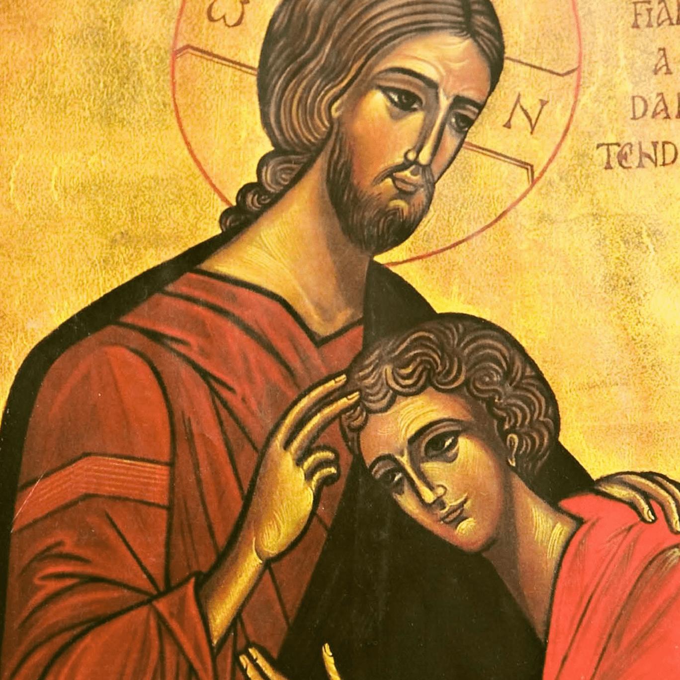 Ícone de São João Apostolo reclinado no peito de Jesus