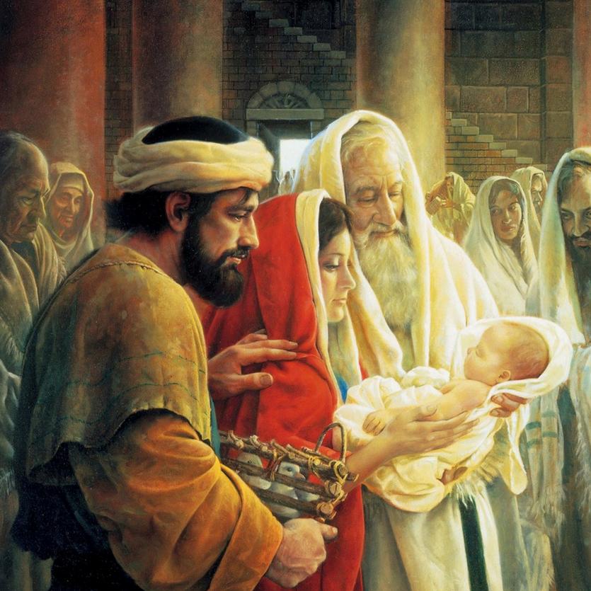 Cena do profeta Simeão com o Menino Jesus nos braços