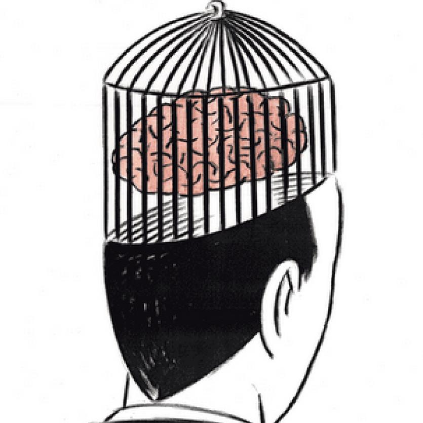Charge de El Roto, de um homem com o cérebro dentro de uma gaiola