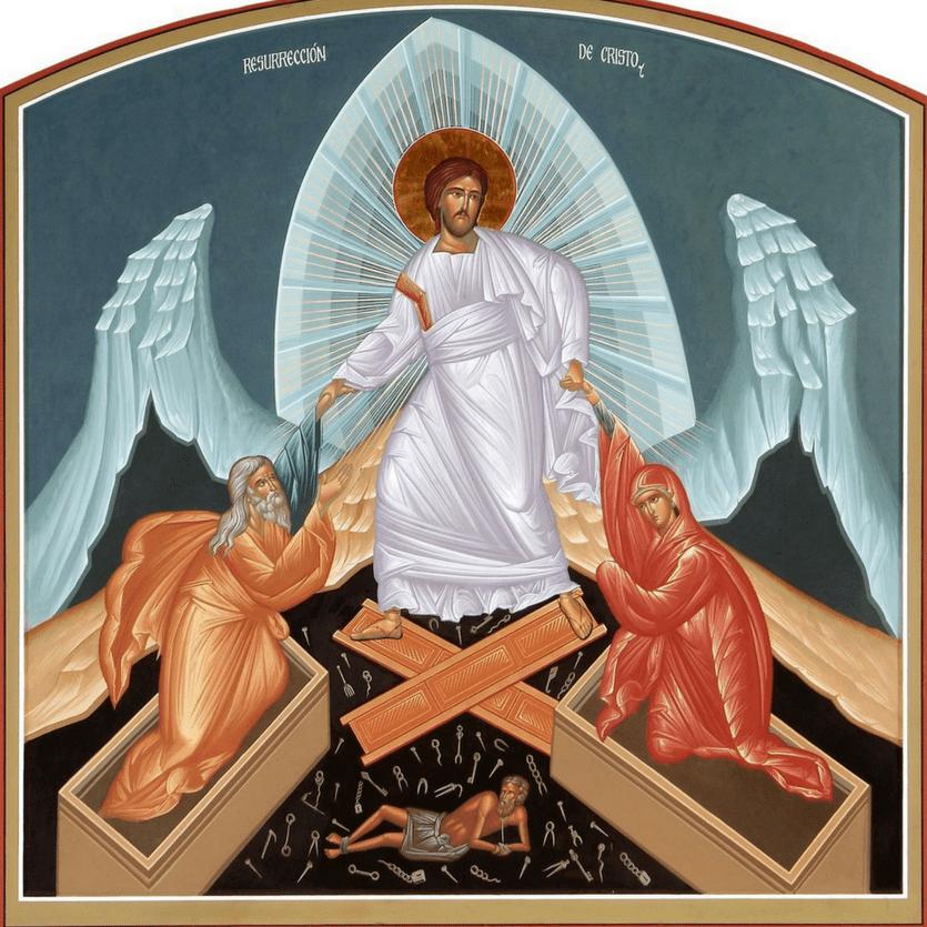 Ícone de Jesus resgatando Adão e Eva da morte