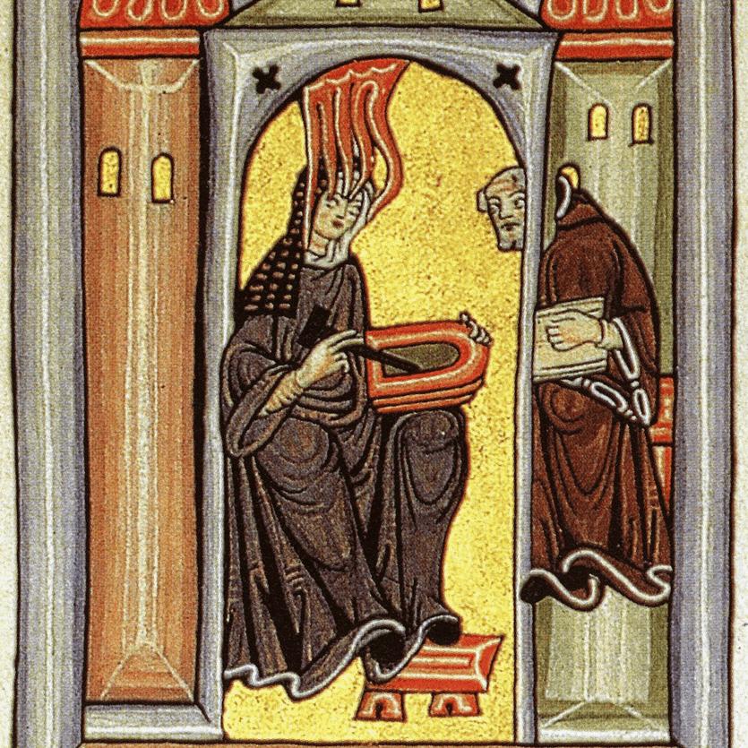 Ícone representa Santa Hildegarda a receber inspirações divinas
