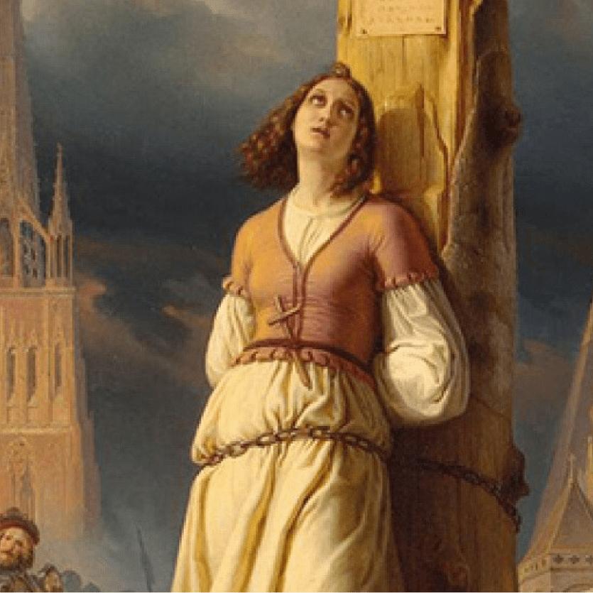Imagem de Joana d'Arc amarrada na fogueira