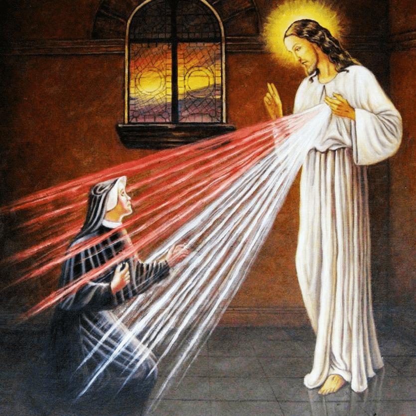 Imagem de Santa Faustina diante de Jesus Misericordioso