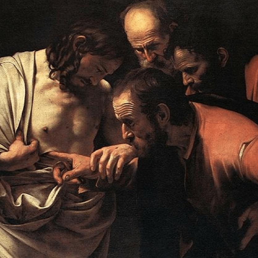 Tomé coloca o dedo na ferida de Cristo. Quadro