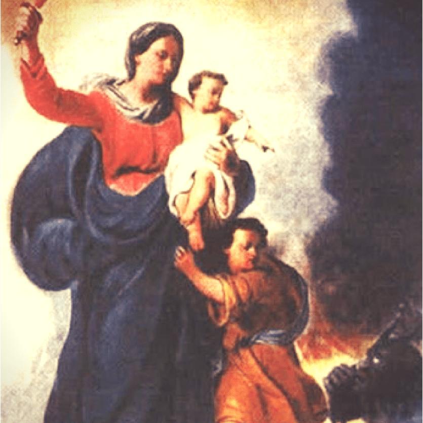 Imagem de Nossa Senhora defendo do demônio uma criança