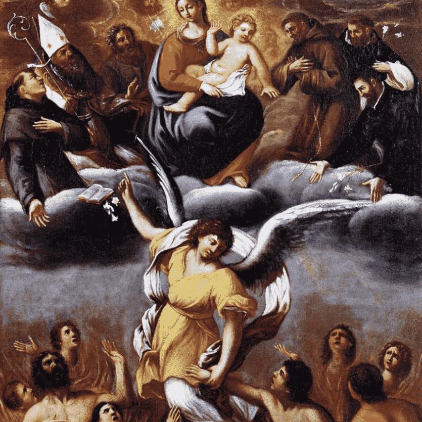 Quadro de um anjo socorrendo as almas do purgatório