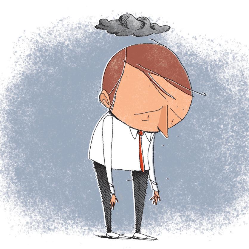 animação de uma pessoa deprimida