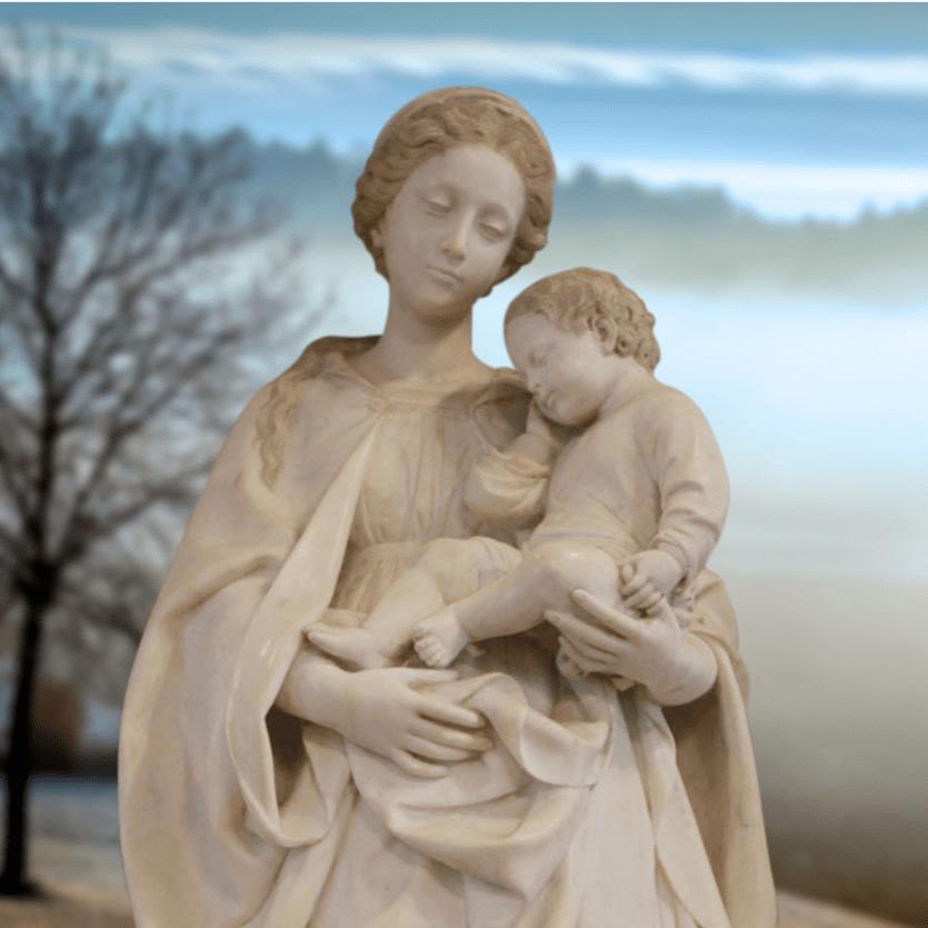 Imagem de Mármore da virgem Maria e o Menino Jesus