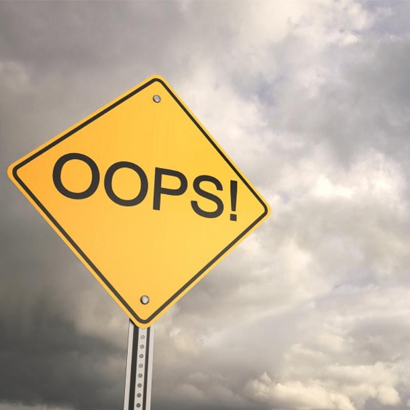 """Placa de expressão de erro """"oops"""