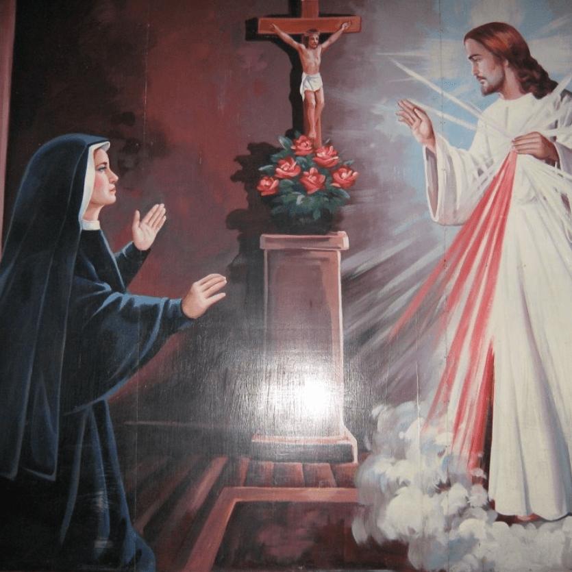 Pintura de Santa Faustina e Jesus Misericordioso