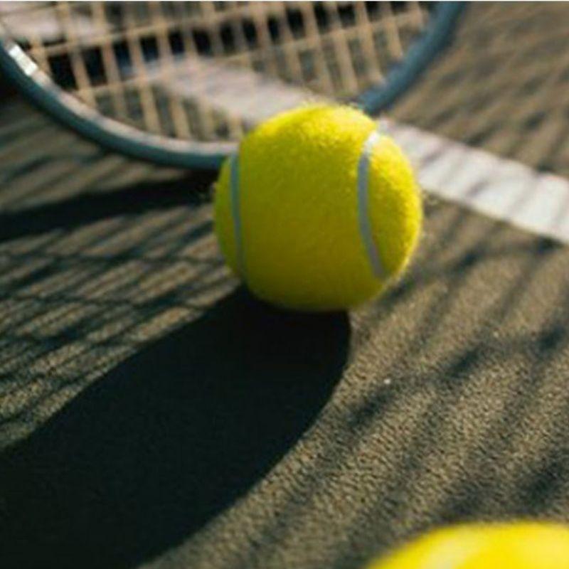 Bola de tênis junto da raquete.