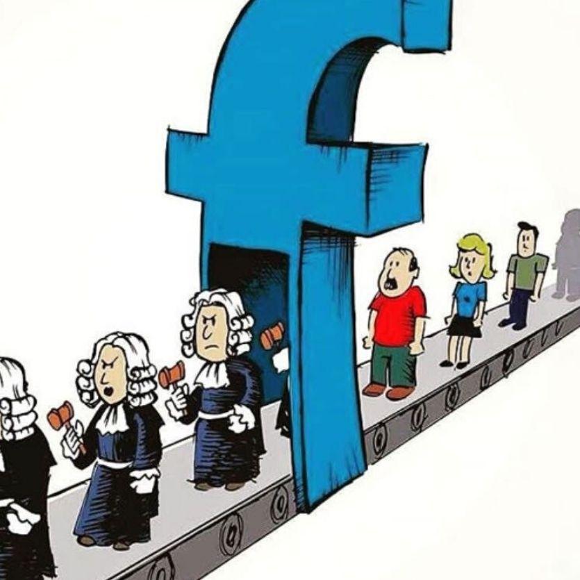Cartoo de pessoas passando sobre um F de facebook e saem com roupa de juízes