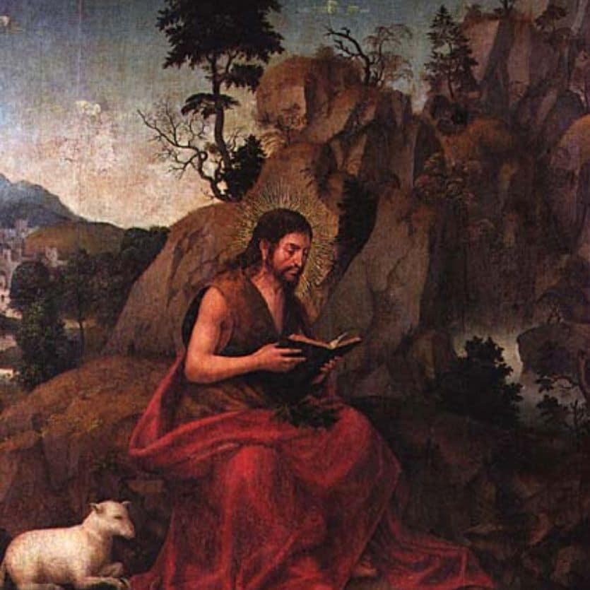 Ícone de São João Batista no deserto.
