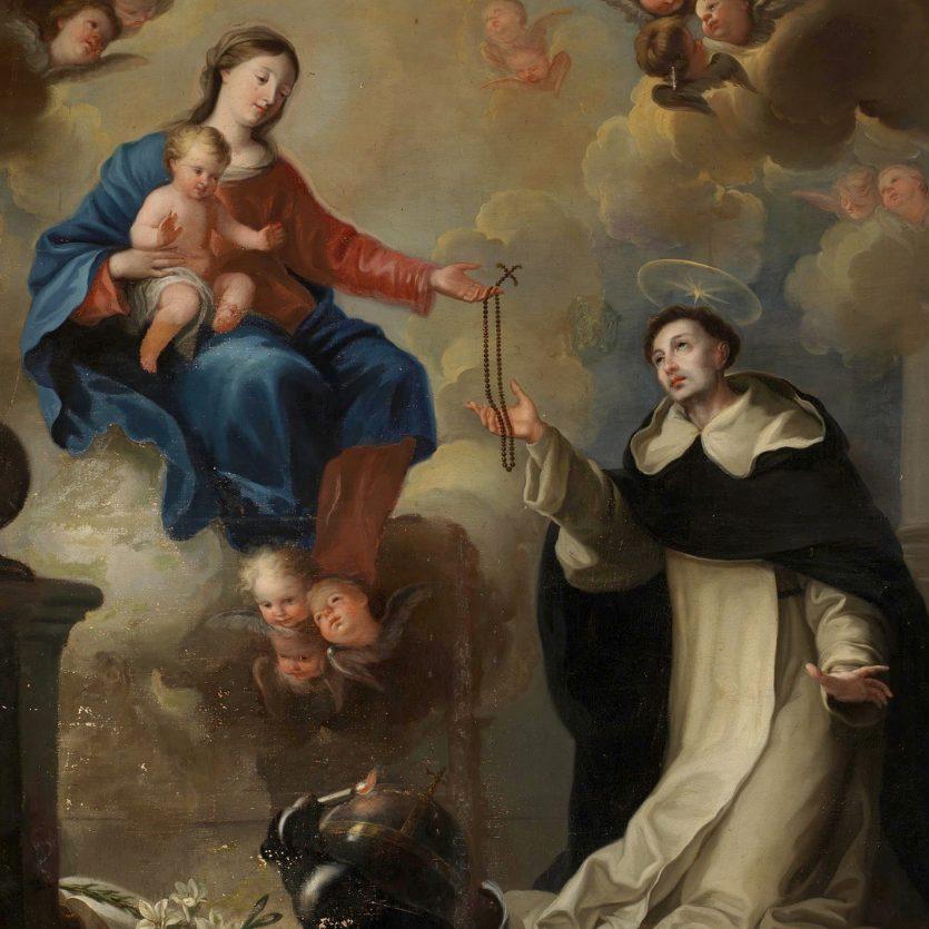 São Domingos de Gusmão recebendo o Rosário de Nossa Senhora